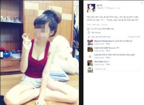 Nữ sinh dùng ảnh nude câu 'like'